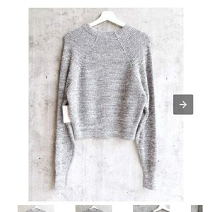 Free People Ribbed Trim Pullover Sweater